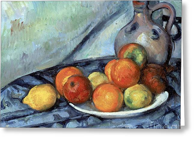 Fruit And A Jug On A Table Greeting Card by Cezanne