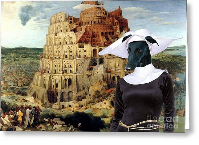 Galgo Espanol - Spanish Greyhound Art Canvas Print -the Tower Of Babel  Greeting Card by Sandra Sij
