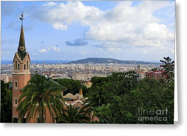 Gaudi's Home Park Guell Greeting Card by Amy Williams