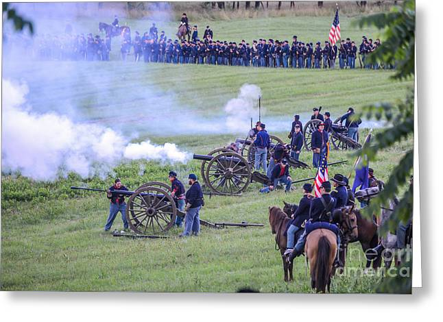 Gettysburg Union Artillery And Infantry 7439c Greeting Card