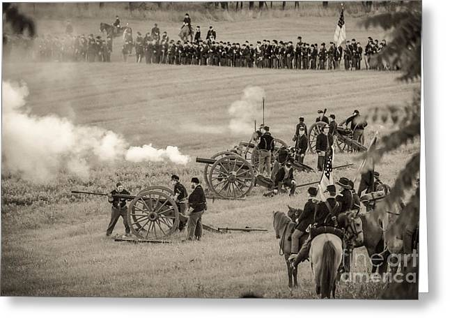 Gettysburg Union Artillery And Infantry 7439s Greeting Card