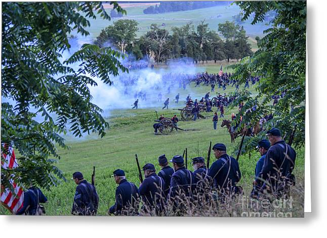 Gettysburg Union Artillery And Infantry 7465c Greeting Card