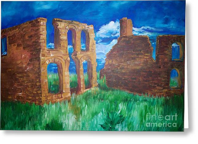 Greeting Card featuring the painting  Ghost Town  by Eric  Schiabor