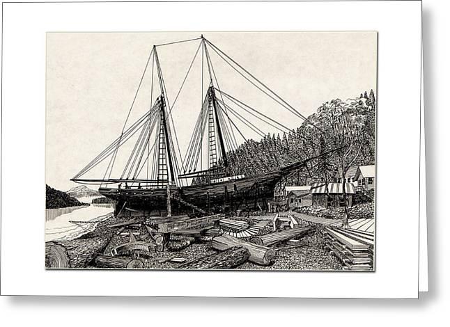 Gig Harbor Waterfront 1891 Greeting Card by Jack Pumphrey