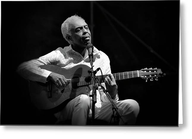 Gilberto Gil   Black And White Greeting Card by Jean Francois Gil