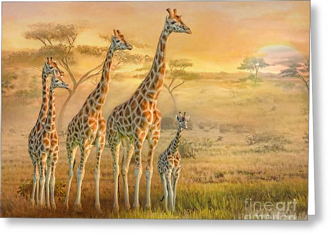 Greeting Card featuring the digital art  Giraffe Family by Trudi Simmonds