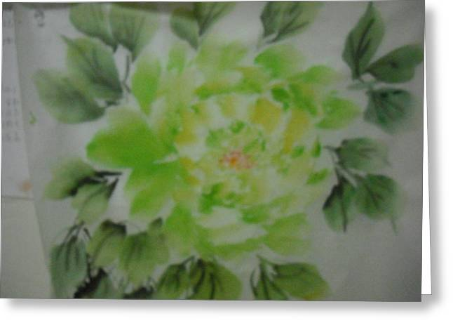 Green Peony004 Greeting Card