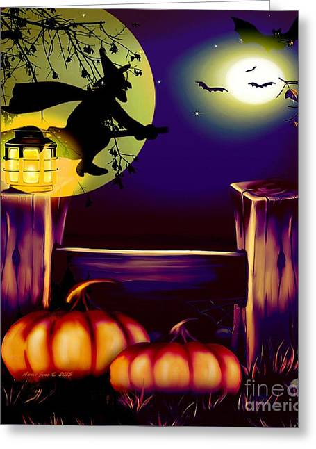 Halloween Witches Moon Bats And Pumpkins Greeting Card