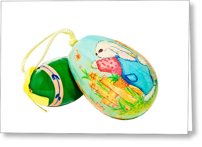 Hand Painted Easter Eggs Greeting Card by Susan Leggett