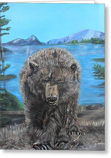 Hello Grizzley Bear Greeting Card