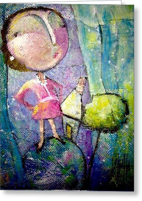Greeting Card featuring the painting  Her Own World by Eleatta Diver