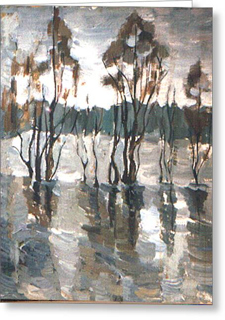 Spring Floods Paintings Greeting Cards -  Hight  water Greeting Card by Tatyana Berestov