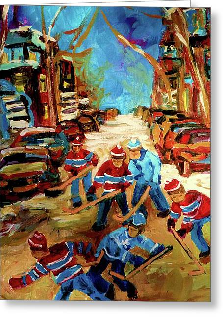 Hockey Paintings Of Montreal St Urbain Street Winterscene Greeting Card by Carole Spandau