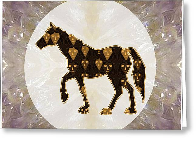 Horse Prancing Abstract Graphic Filled Cartoon Humor Faces Download Option For Personal Commercial  Greeting Card by Navin Joshi