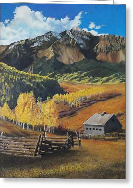 Greeting Card featuring the painting  I Will Lift Up My Eyes To The Hills Autumn Nostalgia  Wilson Peak Colorado by Anastasia Savage Ealy