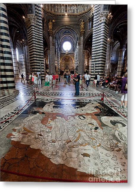 Interior Of Siena Cathedral, Italian Duomo Di Siena With Mosaic Floor Greeting Card by Michal Bednarek