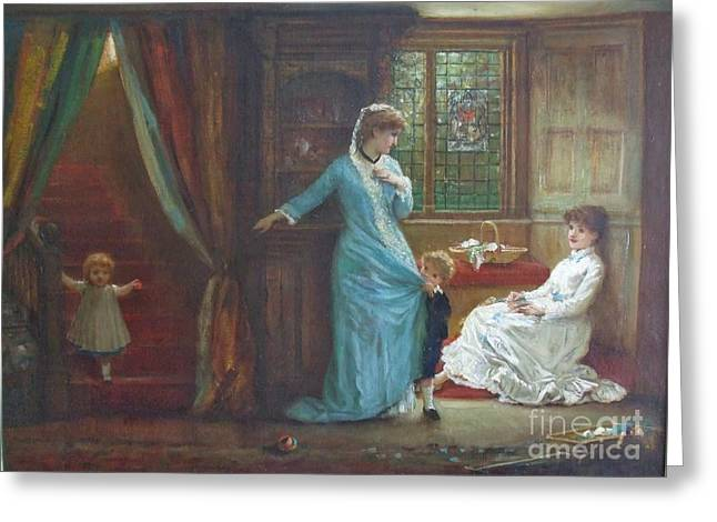 Interior With Ladies And Children Greeting Card by MotionAge Designs
