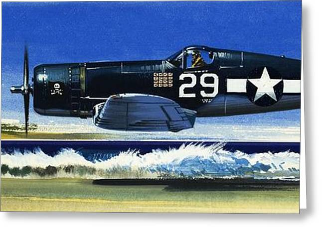 Into The Blue American War Planes Greeting Card by Wilf Hardy