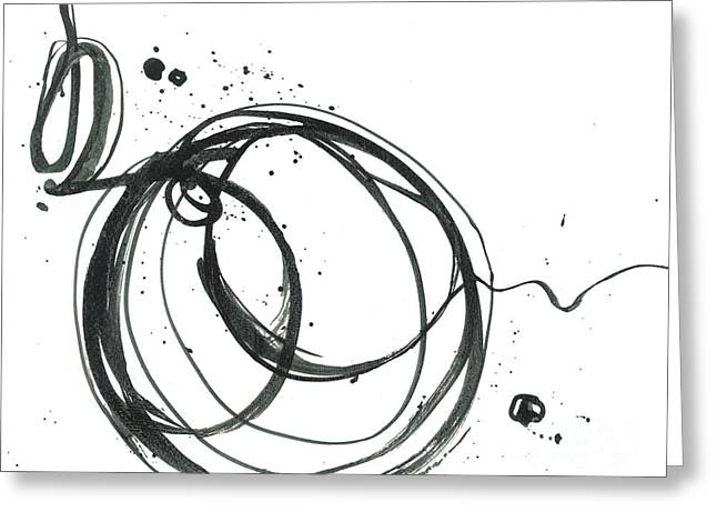 Inward - Revolving Life Collection - Modern Abstract Black Ink Artwork Greeting Card by Patricia Awapara