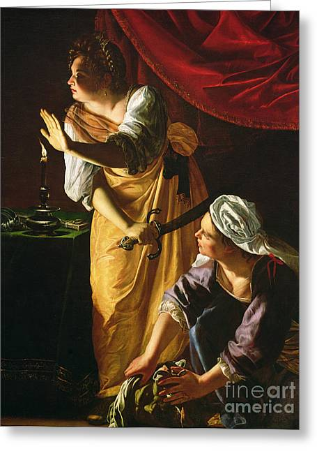 Candlelight Greeting Cards -  Judith and Maidservant with the Head of Holofernes Greeting Card by Artemisia Gentileschi