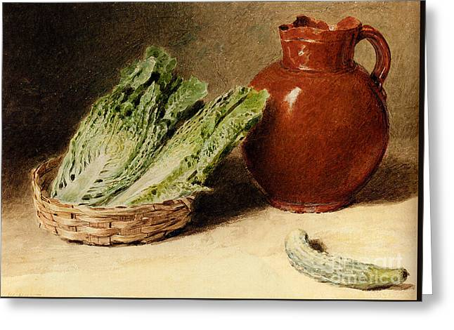 Jug A Cabbage In A Basket  Greeting Card