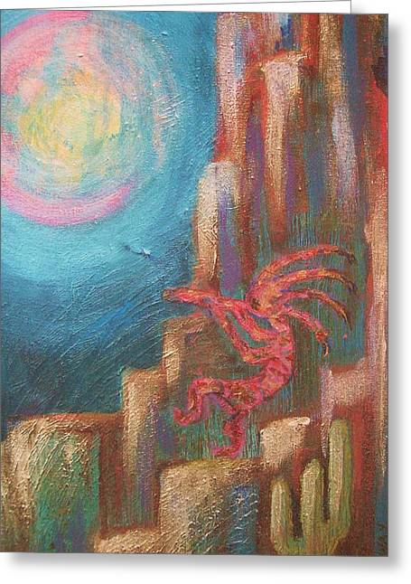 Kokopelli Moon Painting Greeting Card by Anne-Elizabeth Whiteway