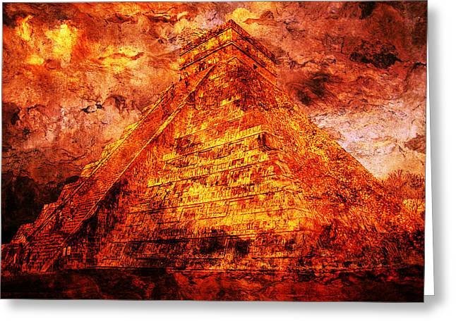 Mayans Greeting Cards -  Kukulcan Pyramid Greeting Card by Jose Espinoza