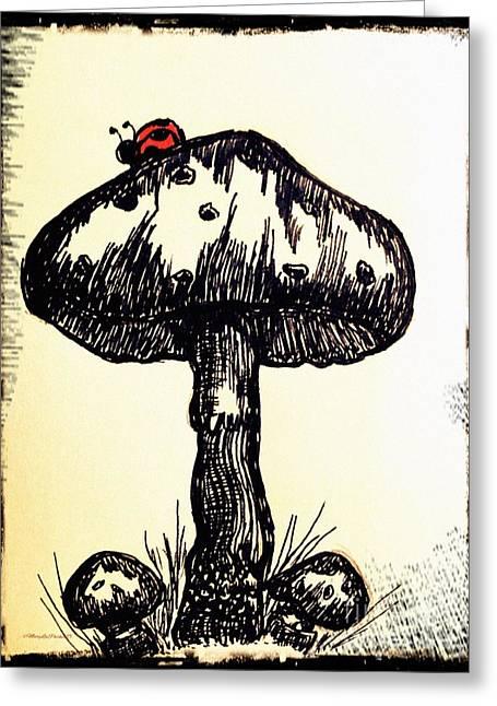 Ladybug On Mushroom Greeting Card