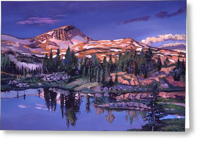 Lake In Shades Of Purple Greeting Card by David Lloyd Glover