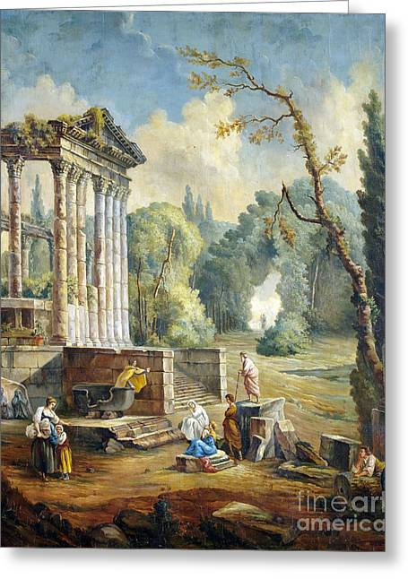 Lanscape With Temple Ruin Greeting Card by Hubert Robert