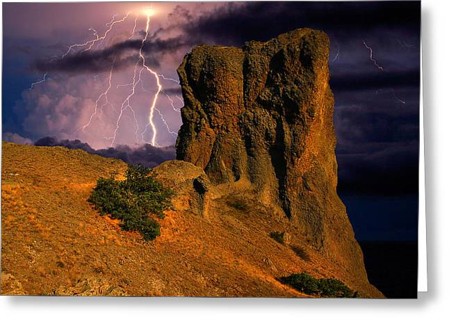 Lightning Over The Cliff  Greeting Card by Yuri Hope