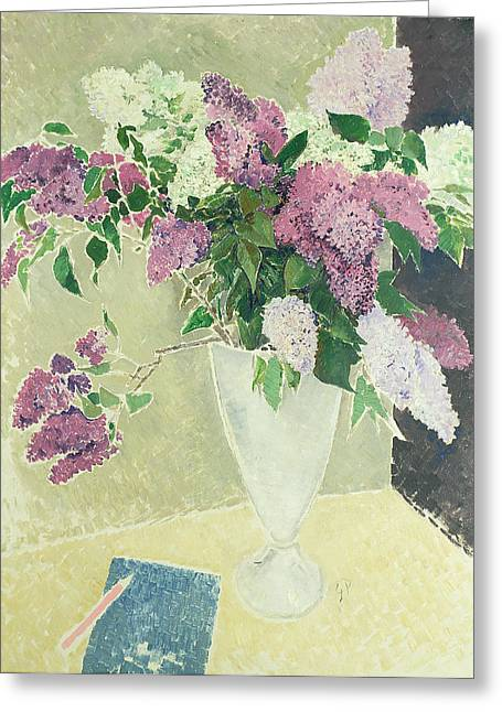 Pen Greeting Cards -  Lilacs Greeting Card by Glyn Warren Philpot