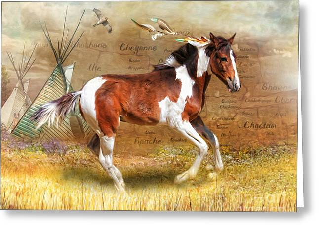 Greeting Card featuring the digital art  Little Apache by Trudi Simmonds