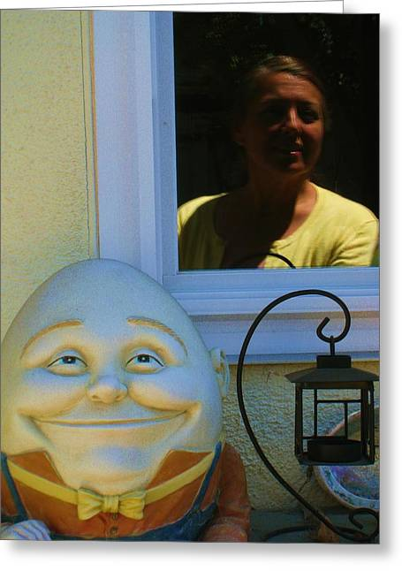 Humpty Dumpty Greeting Cards -  Looking In Reflection Looking Out Greeting Card by John King