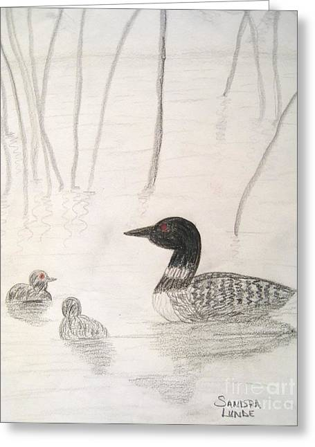 Loon Float Greeting Card by Sandra Lunde