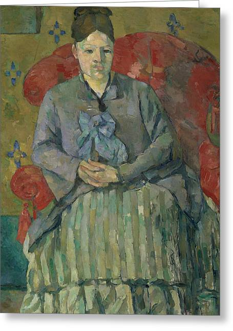 Madame Cezanne In A Red Armchair  Greeting Card by Paul Cezanne