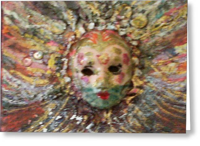 Mardi Gras Mask Dedicated To Linda Lane-bloise  Greeting Card by Anne-Elizabeth Whiteway