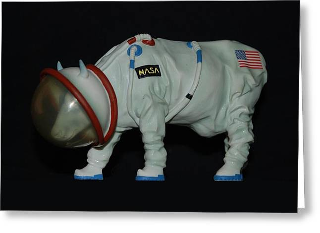 Maurice The Space Cow Boy Greeting Card by Rob Hans