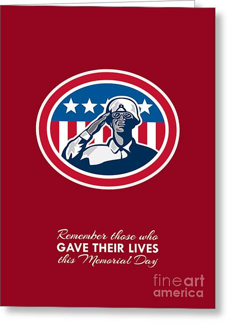 Memorial Day Greeting Card African American Soldier Salute Flag Greeting Card by Aloysius Patrimonio