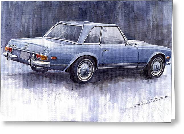 Auto Paintings Greeting Cards -  Mercedes Benz 280 SL W113 Pagoda  Greeting Card by Yuriy  Shevchuk