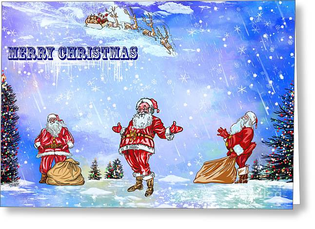 Greeting Card featuring the painting  Merry Christmas To My Friends In The Faa by Andrzej Szczerski