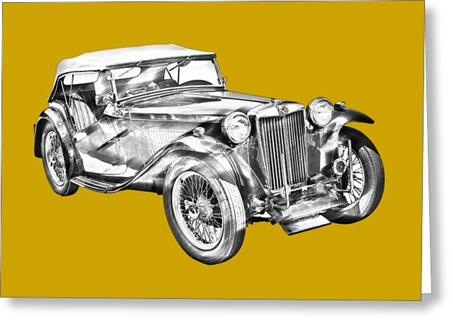 Mg Tc Antique Car Illustration Greeting Card by Keith Webber Jr