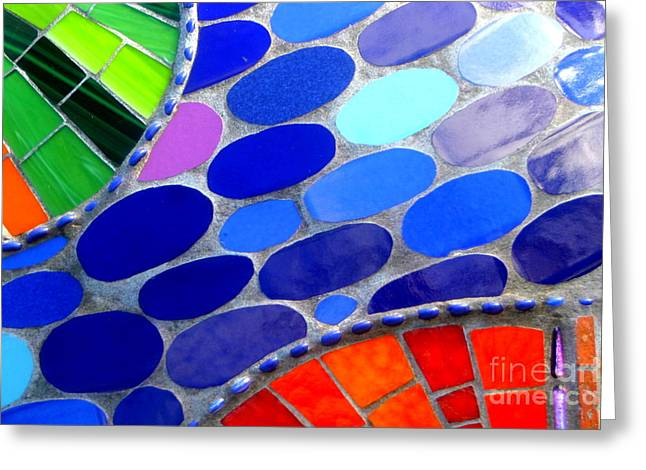 Mosaic Abstract Of The Blue Green Red Orange Stones Greeting Card