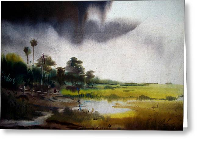 Monsoon Village  Greeting Card by Samiran Sarkar
