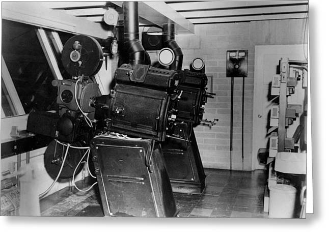 Movie Projection Room 1950 Black White 1950s Greeting Card