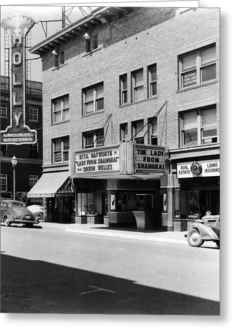 Movie Theater Marquee 1948 Black White 1940s Greeting Card by Mark Goebel