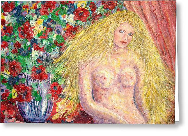Greeting Card featuring the painting  Nude Fantasy by Natalie Holland