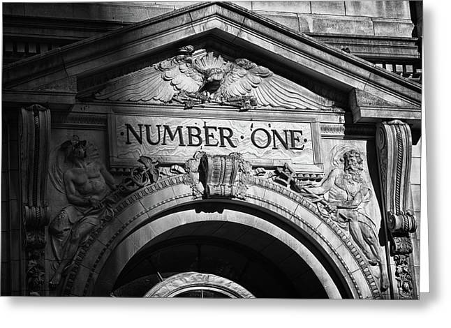 Number One Building In Black And White Greeting Card by Val Black Russian Tourchin