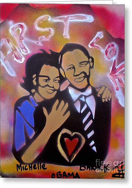Obama First Love... Greeting Card by Tony B Conscious