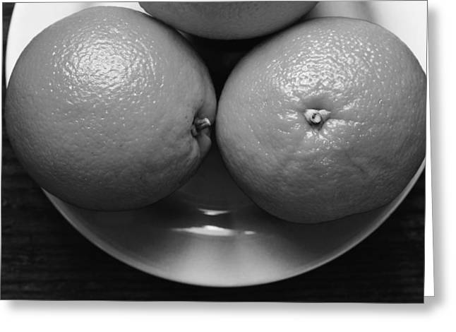 Oranges On White Plate In Black And White Greeting Card by Donald Erickson